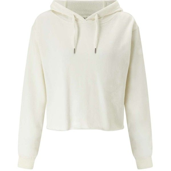 Miss Selfridge Cream Cropped Hoodie (61 AUD) ❤ liked on Polyvore featuring tops, hoodies, sweaters, jackets, outerwear, cream, white hoodies, cropped hoodie, white hooded sweatshirt and white crop top