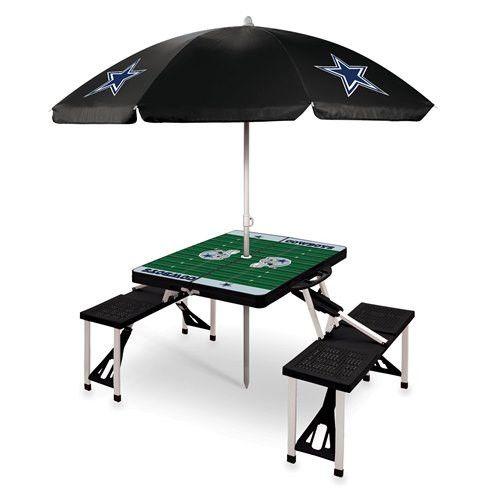 Dallas Cowboys Portable Picnic Table & Umbrella - Black