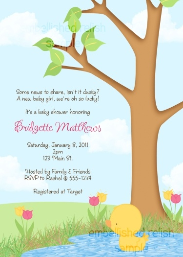 Spring Duck Baby Shower Invitation. Definitely my favorite duck themed invitation for a baby girl baby shower.