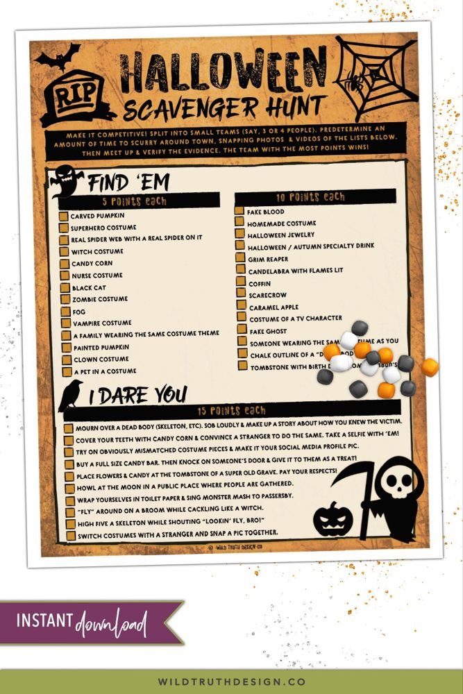 Halloween Scavenger Hunt for Teens & Adults [H105] in