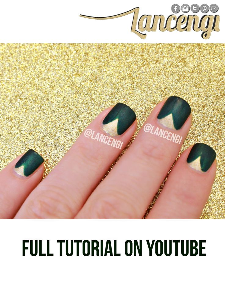 Easy Nail Art For Beginners for Short Nails: NO TOOLS Green and Gold Elegant Mat…