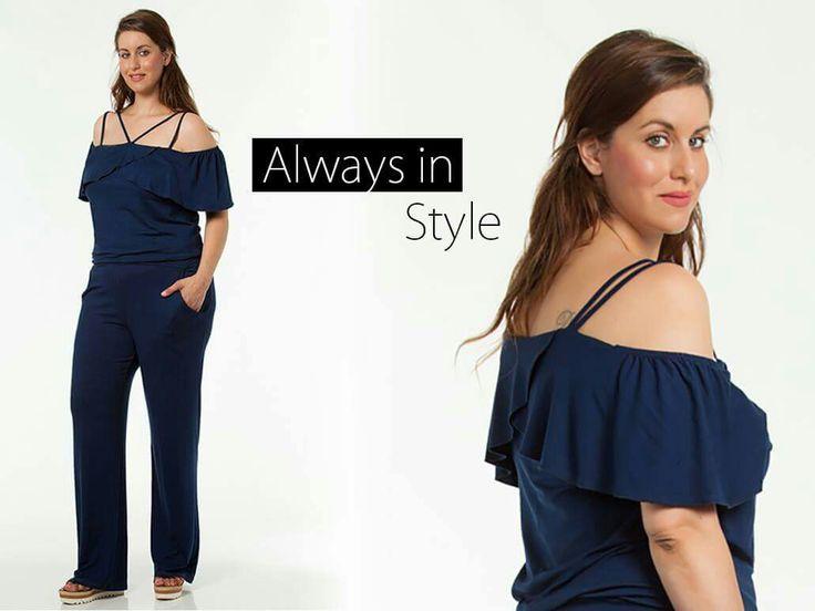 Αναδεικνύουμε τις καμπύλες μας Always in Style 🌸 Έξωμη ολόσωμη φόρμα με βολάν και τιραντάκια! #opra_xxl #fashion #outfit #look #summer #collection