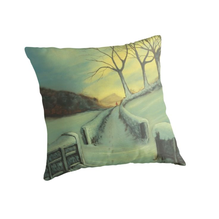 Heading Home throw cushion - A warming winter scene, of a winter walk home after a lovely day out walking your dog.  by Dianne  Fox.  Available on Redbubble