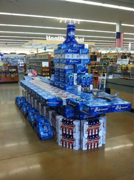 COOL MEMORIAL DAY BEER CASE DISPLAY AT GROCERY STORE - AIRCRAFT CARRIER!