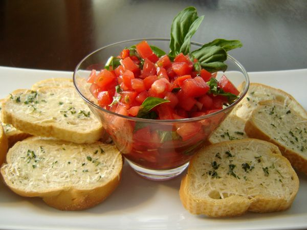 Olive Garden Bruschetta Recipe. I had to omit the sun-dried tomato because I didn't have any, but this was delicious anyway!