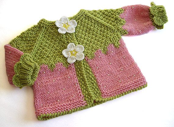 Knitted baby jacket Pink Strawberry ,baby girlspink cardigan, knitted baby girls jacket , handknit baby strawberry jackety