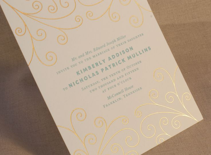 Letterpress printed in Robin's Egg blue with our gold scroll motif.
