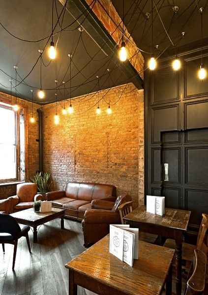 ALL WRONG for us! Boring, looks like a coffee shop, nothing Irish about this, dated Edison lights, no color or pattern. Alice House.