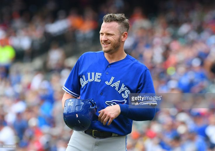 Josh Donaldson #20 of the Toronto Blue Jays looks on during the game against the Detroit Tigers at Comerica Park on July 16, 2017 in Detroit, Michigan. The Tigers defeated the Blue Jays 6-5.