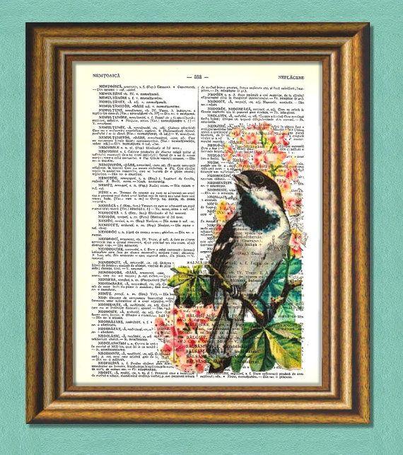 BIRD & PINK FLOWER  Dictionary Art Print  by littlevintagechest