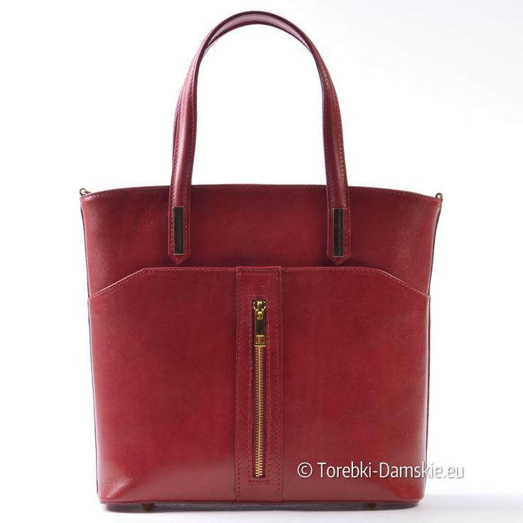 Czerwona torebka ze skóry - nowy model w sklepie Torebki-Damskie.eu