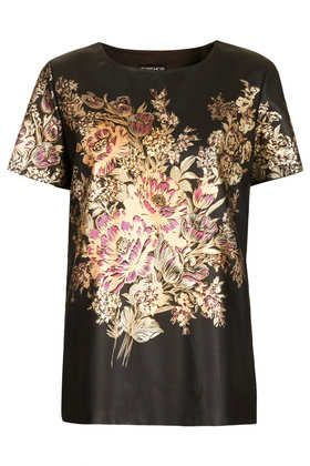 Flower Leather-Look Tee #floralleather