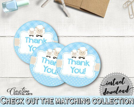 Baby shower Boy THANK YOU sheep round tag or sticker printable, little lamb favo…