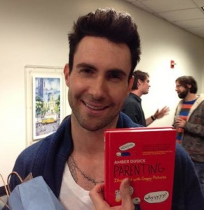 "Giveaway: ""Parenting: Illustrated With Crappy Pictures"" by Amber Dusick (with gratuitous Adam Levine picture). Ends 4/10/13."