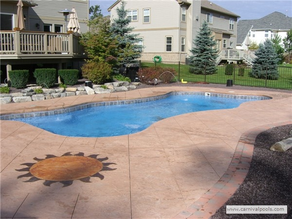 Fiberglass Pool Ideas swimming pool designs with slides fiberglass pool slide gallery aqua magic pool amp spa san diego ideas Fiberglass Pool With Decorative Deck