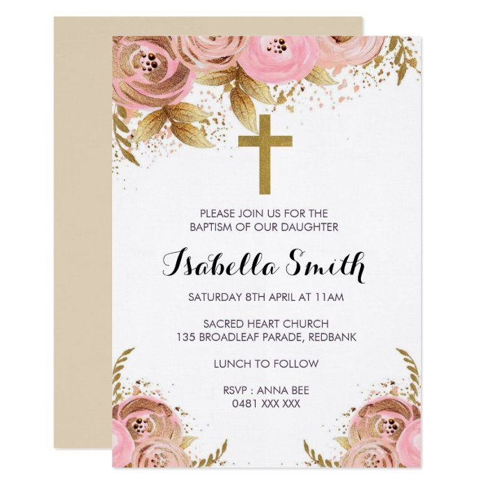 Personalised Party Prints with Photo Floral Frame Christening Invitations /& Envelopes