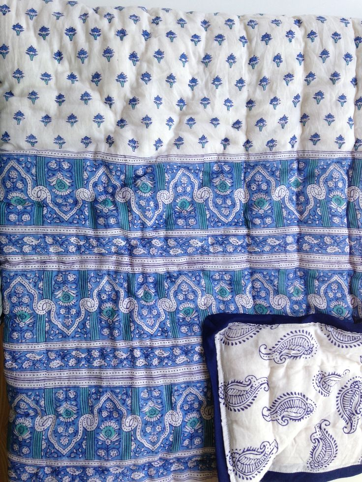 Reversible cotton hand block printed baby quilt with matching pillow cover $45 @ bohocollective.com,au