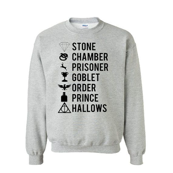 Harry Potter Books Sweatshirt by HirschiDesigns on Etsy, $24.00 - might as well stock up on these HP sweatshirts