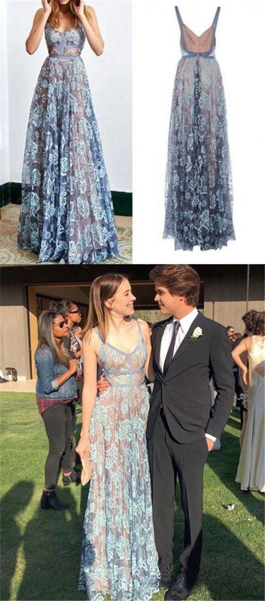 Blue Lace Spaghetti Long A-line Prom Dresses, 2018 Prom Dresses, Backless Prom Dresses PD0334