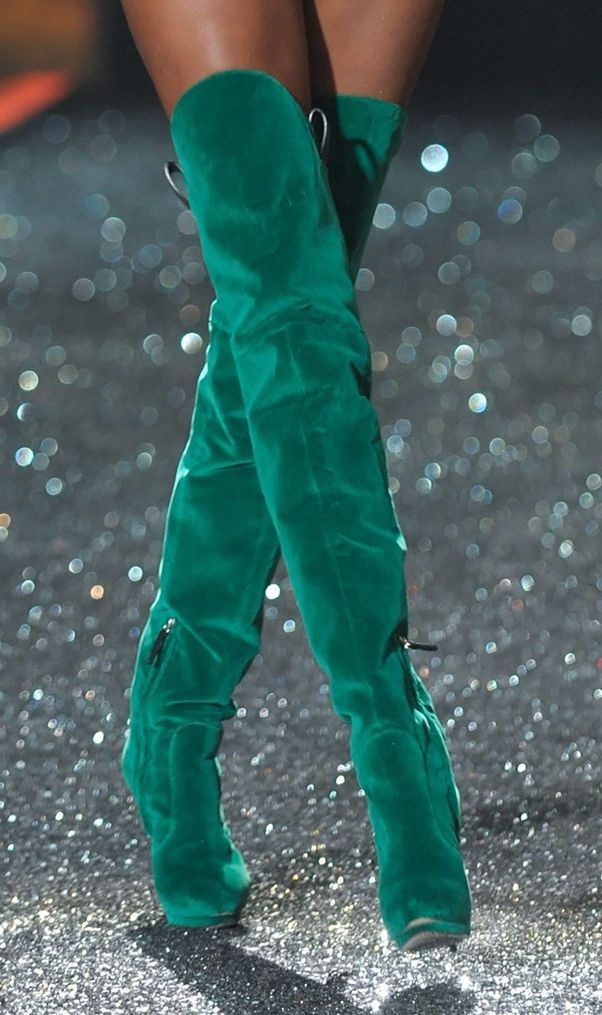 sea green thigh high boots walking in x
