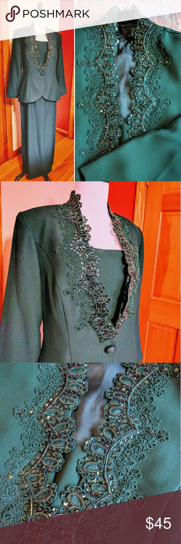 """Vintage hunter green evening gown with jacket Gorgeous dark hunter green vintage dress with jacket. Dress itself is in perfect condition. The jacket has a few missing beads and sequins, but not noticeable unless you carefully look for them (see last picture with me pointing, one area by the neck in the back, one in the front halfway down the side), imperfections reflected in price. Helen Murrell tag attached to inside jacket by safety pin. Jacket 18"""" flat across pit to pit, 16"""" waist, 27""""…"""
