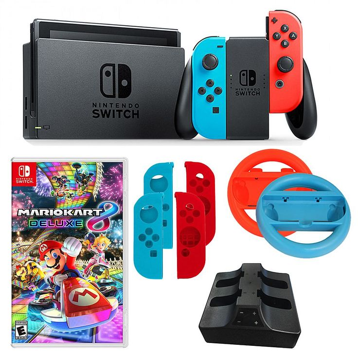 Nintendo Neon Switch Bundle with 2 Joy-Con Wheels and