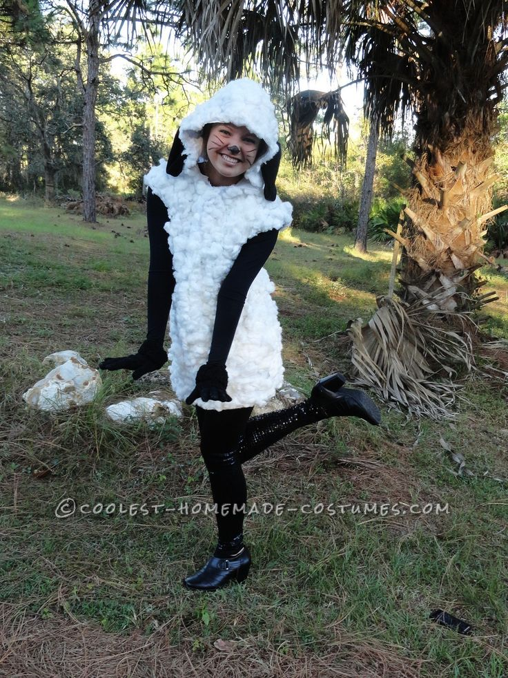 Unique Woman Costume Idea: Homemade Sheep Costume for Under $20!... Coolest Homemade Costumes