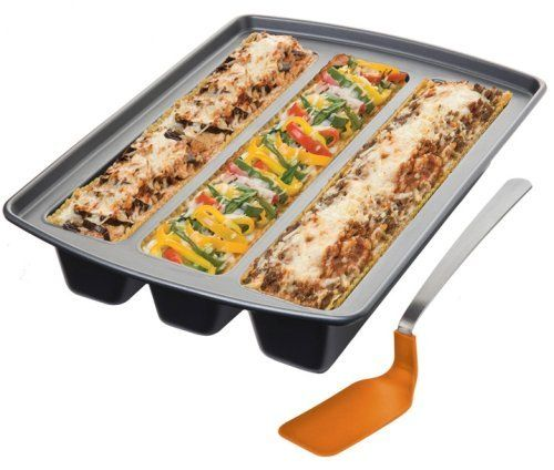 Chicago Metallic Lasagna Trio Pan, 12-Inch by 15-Inch by 3-Inch (11-1/2-Inch by 2-1/2-Inch Cavities) by Chicago Metallic. $16.66. Dishwasher safe. Custom-fit spatula. Make up to 3 different recipes in one pan. Channels sized to fit standard lasagna noodles. Nonstick coated steel. The Trio Lasagna Pan from Chicago Metallic has 3 separate channels allowing cooks to be creative and makes it easy to serve vegetarians or carnivores from one pan.  A custom-fit, exclusive spatula ...