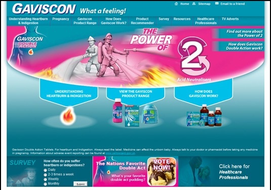 A web page that we produced for Gaviscon