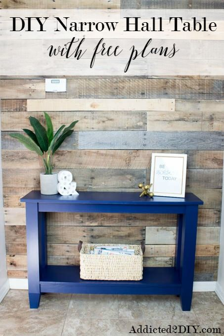 DIY Narrow Hall Table - gorgeous shade of blue paint with a flawless finish!