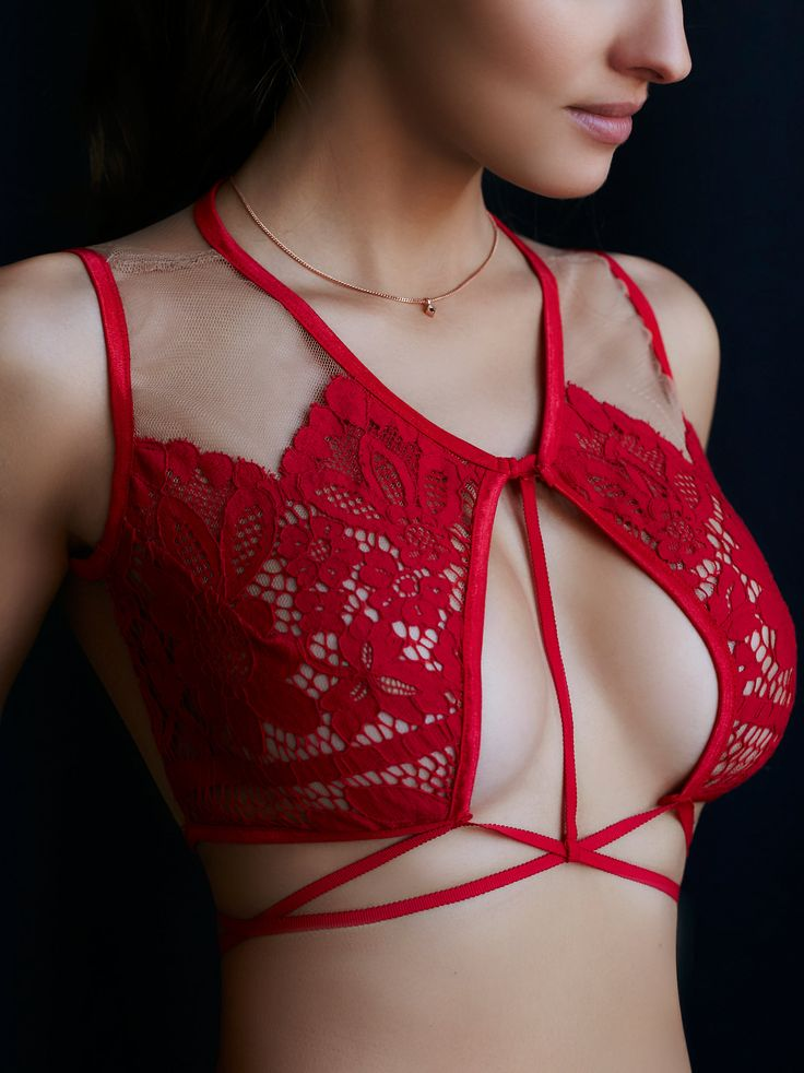 Ruby Keyhole Bra | Featuring allover sheer tulle with a delicate lace overlay…