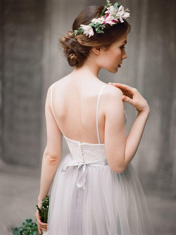 Icidora // Romantic wedding dress Grey wedding by Milamirabridal