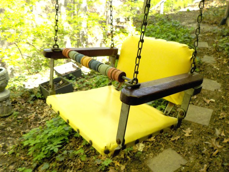 Mid Century Childs Swing, Toddler Swing, Childs Swinging Seat, Childs Hanging Porch Swing, Outdoor Swing, Yellow, Wood, Metal, All Chains by TheVintagePorch on Etsy https://www.etsy.com/listing/232032486/mid-century-childs-swing-toddler-swing