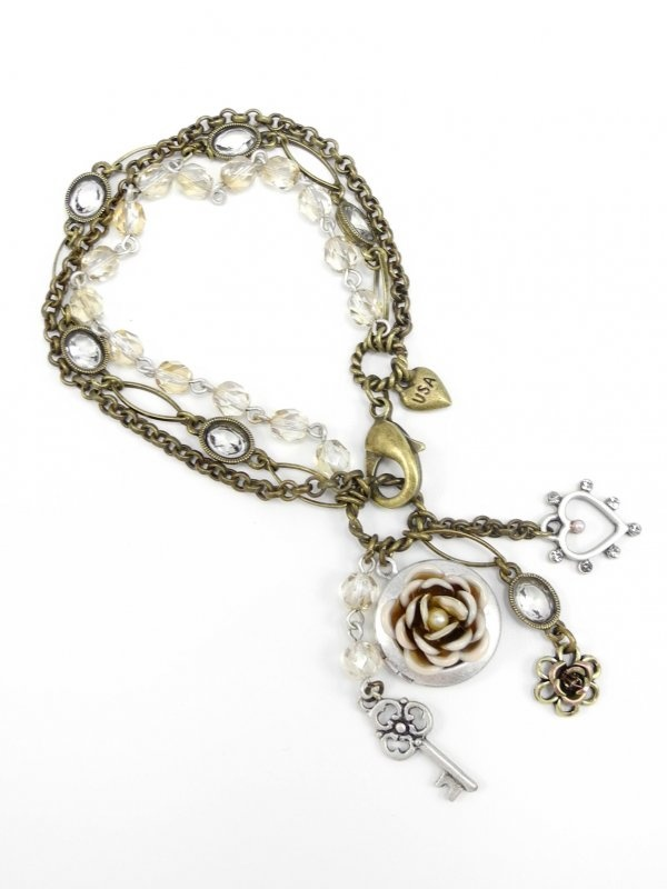 Heirloom Rose Locket Charms Bracelet by Sweet Romance - $44.00 : FashionCupcake, Designer Clothing, Accessories, and Gifts: Rose Lockets, Gifts Ideas, Heirloom Roses