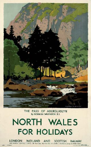 North Wales for holidays - The pass of Aberglaslyn - LMS - (Norman Wilkinson) -