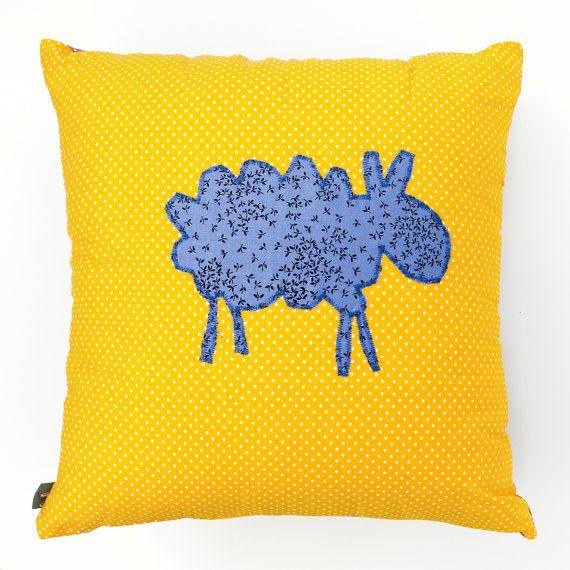Yellow Dot Cushion with a Blue Sheep 45cm x 45cm