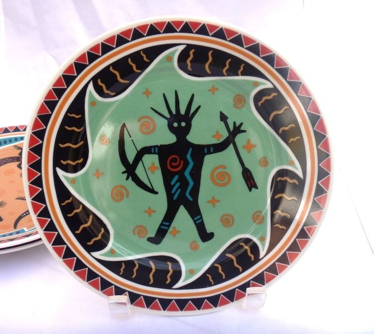 """Southwestern style decorative Ancient warrior 8"""" plate"""