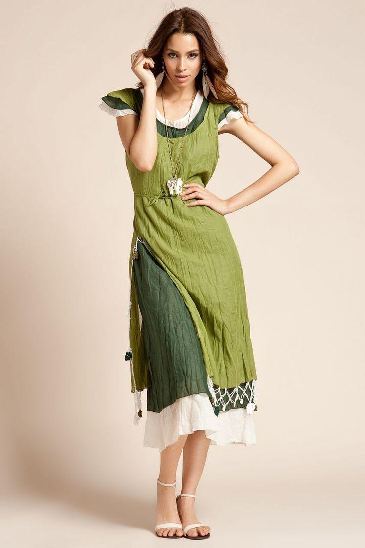 Otantik Kekova Elbise - Yeşil
