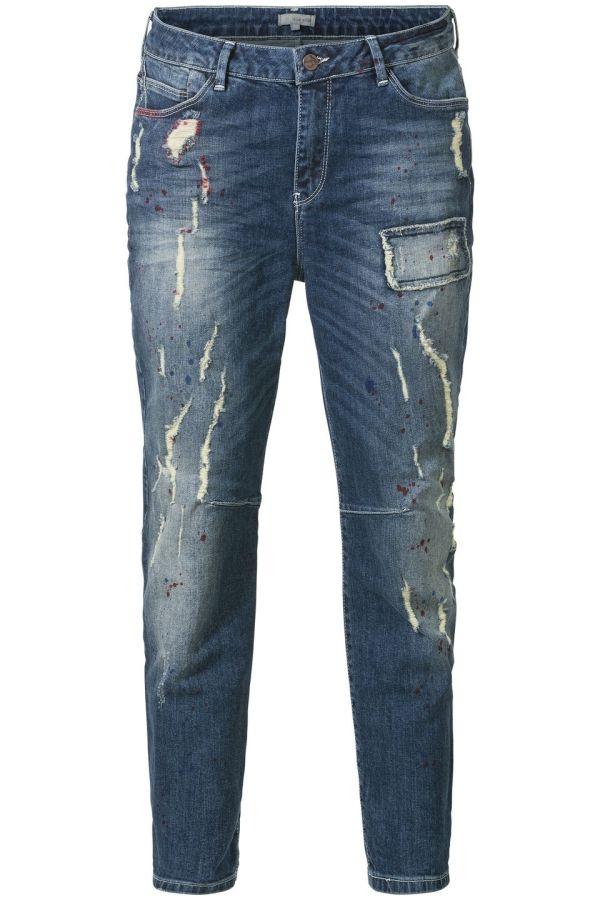 Jeans met verfvlekken Dark Denim