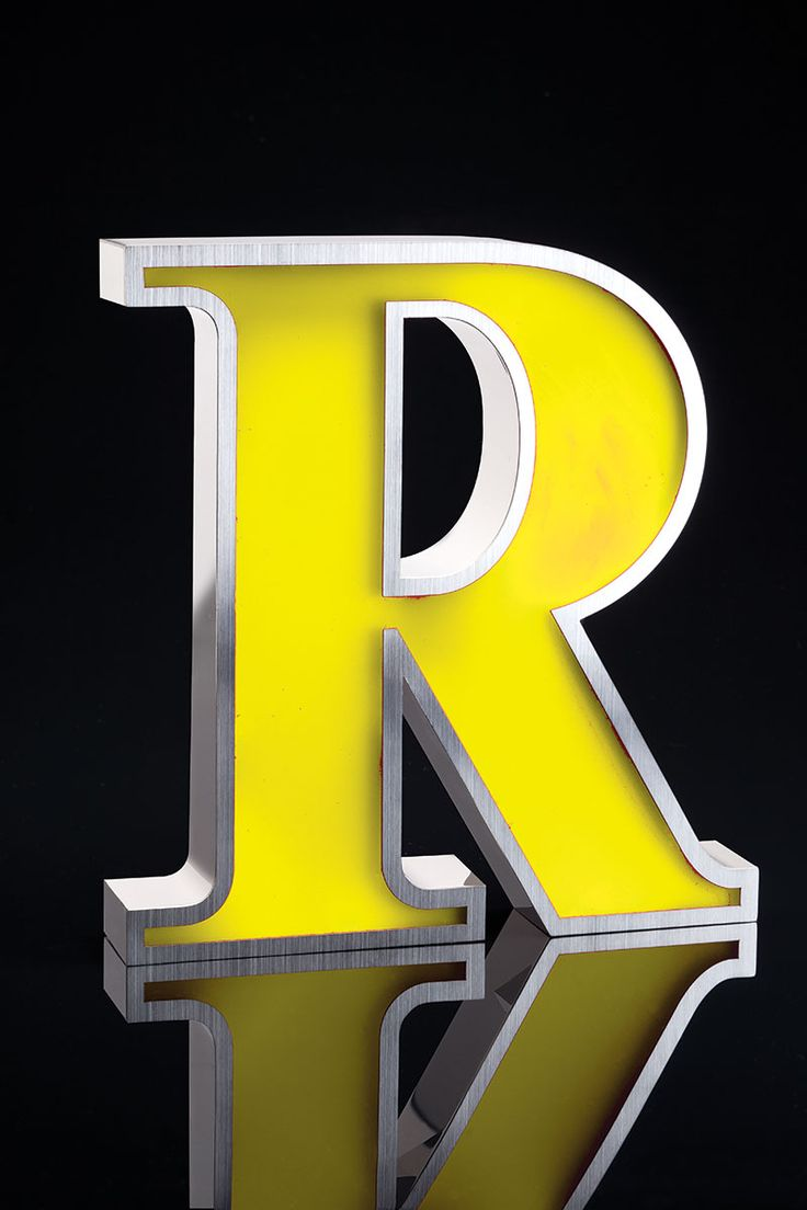 yellow stainless steel led letter