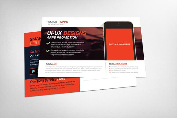 "Mobile Apps Postcard Template  Mobile Apps Postcard Template  Specification CMYK Color Mode 300 DPI Resolution Size 6.25""x4.25"" 0.25"" Bleed in Each Side"