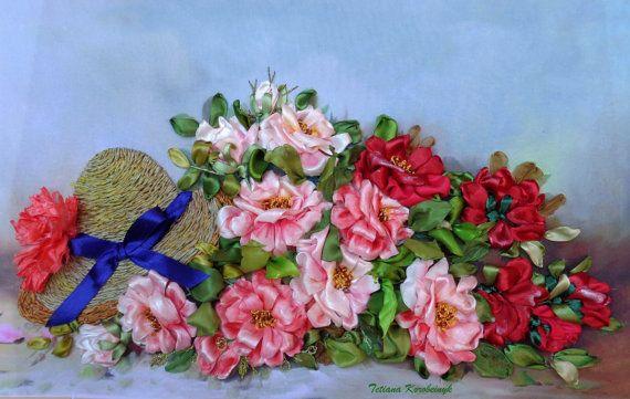 Foto Rozen zijde lint borduren rozen door SilkRibbonembroidery
