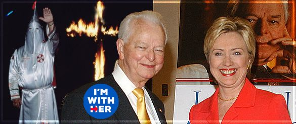 Hillary (Who Loved Klansman Robert Byrd) Smears Trump as KKK Candidate August 25, 2016  Hypocrisy at its Finest!  RUSH:The Ku Klux Klan is a Democrat entity. It has always been. In fact, there was even a member of the Ku Klux Klan in the United States Senate. His name was Robert Byrd, and he was a Democrat from West Virginia.