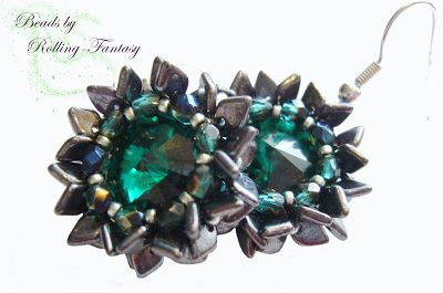 Dragon & Flower Ohrringe in Emerald/Hematite