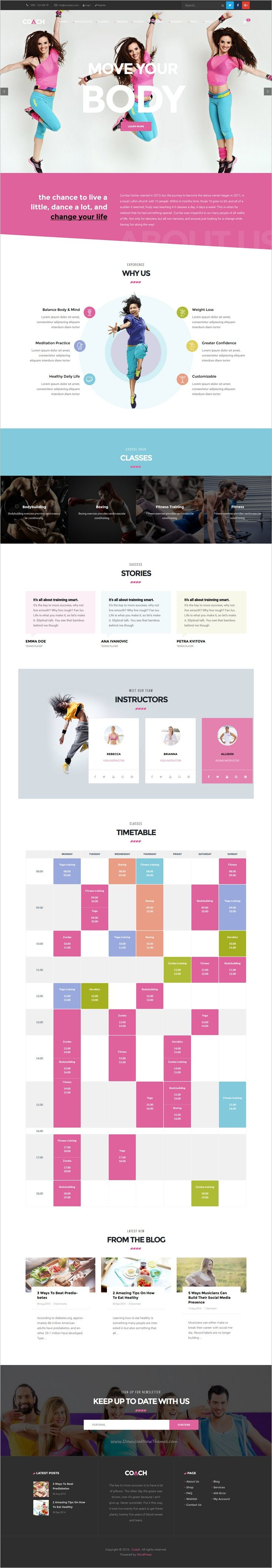 Coach is a creative and modern design responsive 4in1 #WordPress theme for #Sport Clubs, #Fitness Centers & Courses website download now➩  https://themeforest.net/item/coach-sport-clubs-fitness-centers-courses-wordpress-theme/18778699?ref=Datasata
