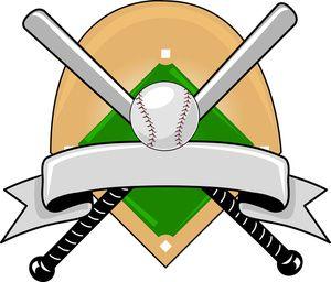 Baseball Clipart Image: Baseball Logo Graphic with a Baseball Diamond, and Baseball Bats Covered by a Banner