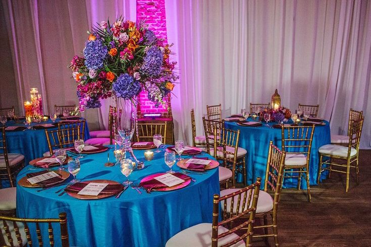 Wedding Reception with Gold, Purple, Orange and Teal ...