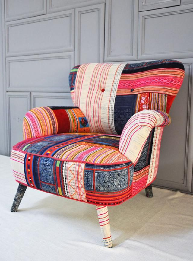 8 Fabulous Ways To Decorate With Hmong Textiles: Upholster A Chair In Hmong Fabric