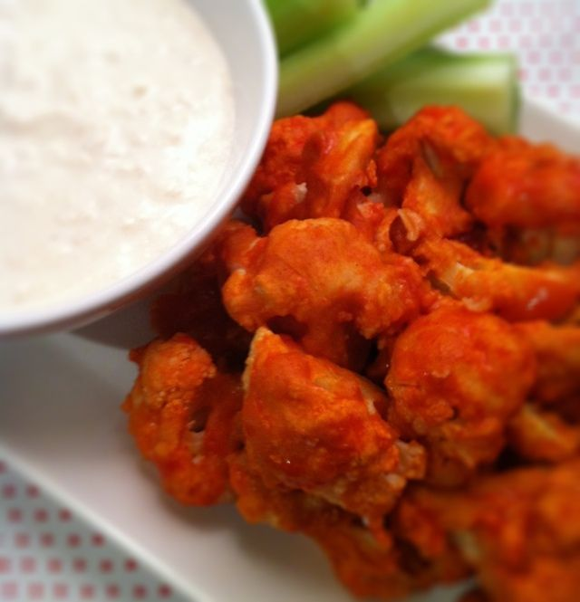 VEGAN BUFFALO CAULIFLOWER BITES + VEGAN BLUE CHEESE DRESSING- just made w/o the blue cheese.  It was delicious!!  Make sure to get the extra batter off.