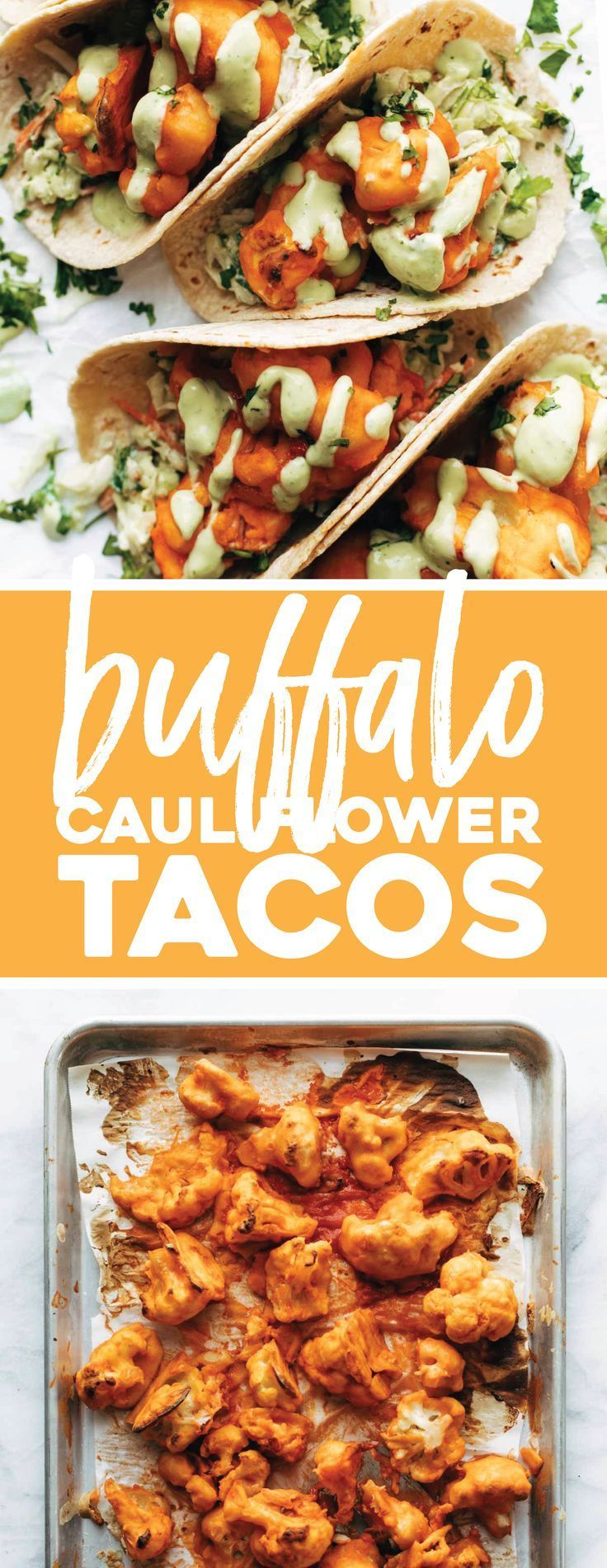 OKAY THESE TACOS ARE SO GOOD. Buffalo Cauliflower Tacos with Avocado Crema!! Baked, not fried, and breaded in a two-ingredient batter. Crispy, tangy, fiery taco perfection. #cauliflower #vegetarian #meatless #recipe #tacos | pinchofyum.com